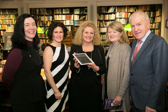 L-R: Dr. Sandra Collins, Director of the National Library of Ireland, Dr. Natalie Harrower, Director, Digital Repository of Ireland, Caroline McGee, Project Creative Lead Inspiring Ireland 1916, Professor Mary E. Daly, President, Royal Irish Academy & Member of the Expert Advisory Group on Commemorations, Jimmy Deenihan, T.D., Minister of State  for the Diaspora